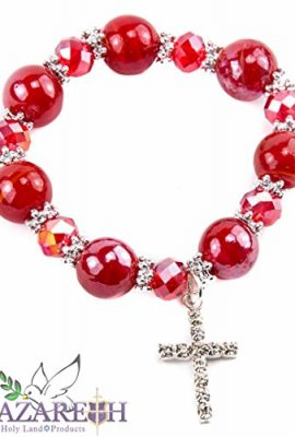 Agate-Red-Crystals-Stretchable-Bracelet-with-Zircons-Cross-Handmade-Holy-Land-0