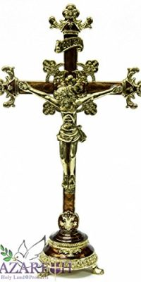 Amazing-Enameled-Brown-Jesus-Crucifix-Statue-Pewter-Cross-with-Zircon-Gems-102-0