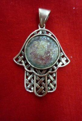 Amazing-Handmade-Roman-Glass-Hamsa-Pendant-Sterling-Silver-925-From-Holy-Land-0