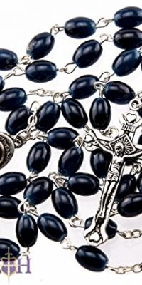 Beautiful-Dark-Blue-Glass-Beads-Rosary-Catholic-Necklace-Holy-Soil-Medal-Cross-0