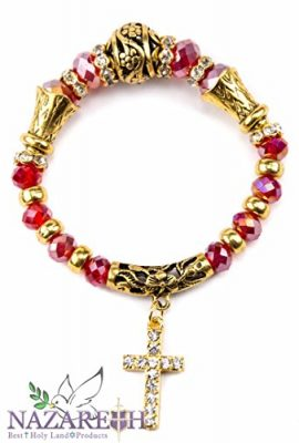 Beautiful-Golden-Tone-Catholic-Bracelet-with-Red-Crystals-Cross-Ornament-0