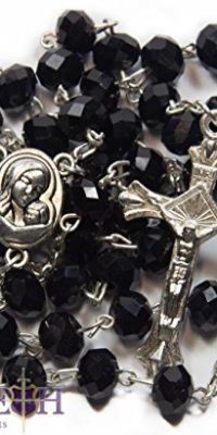 Black-Crystal-Beads-Rosary-Catholic-Necklace-Holy-Soil-Medal-Crucifix-Handmade-0