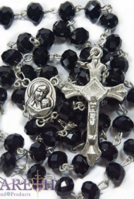 Black-Crystal-Beads-Rosary-Catholic-Necklace-Miraculous-Medal-with-Crucifix-0