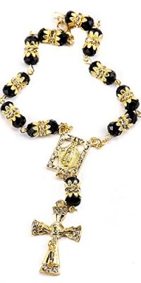 Black-Crystal-Zircon-Beads-Gold-Color-Car-Rearview-Mirror-Rosary-Jerusalem-0