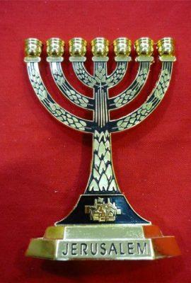 Black-Enamel-Judaica-Jewish-Hanukkah-Brass-Menorah-Menora-From-Israel-0