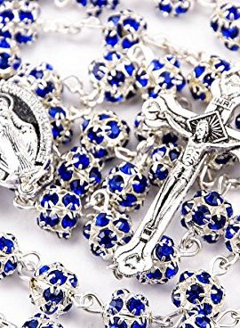 Blue-Zircon-Crystals-Beads-Rosary-Catholic-Necklace-Miraculous-Medal-Crucifix-0
