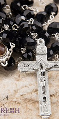 Catholic-Black-10mm-Crystal-Beads-Rosary-Holy-Soil-Medal-Silver-Crucifix-0