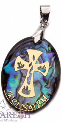 Catholic-Cross-Abalone-Shell-Pendant-Pearl-Crucifix-Handmade-Amulet-Nazareth-0-0