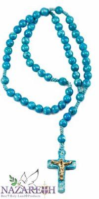 Catholic-Praying-Rosary-Jesus-Crucifix-Jerusalem-Light-Blue-Stone-Beads-106-0