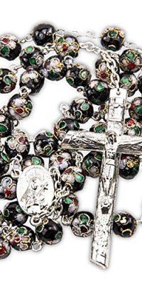 Cloisonne-Rose-Rosary-Bracelet-Set-Black-Beads-Madonna-Medal-Cross-Jerusalem-0-0