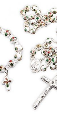 Cloisonne-Rose-Rosary-Bracelet-Set-White-Beads-Madonna-Medal-Cross-Jerusalem-0