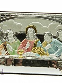 Colored-Last-Supper-Of-Jesus-65-Sterling-Silver-950-Icon-Plaque-Holy-Land-0