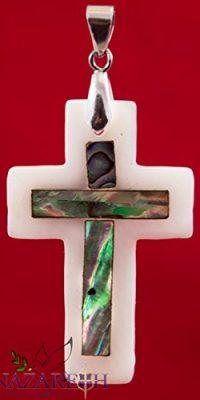 Cross-Mother-of-Pearl-Seashell-Pendant-Crucifix-Handmade-From-Bethlehem-16-0