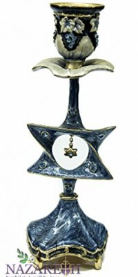 Enameled-Blue-Star-of-David-Candle-Holder-87-Pewter-with-Zircon-Crystals-0