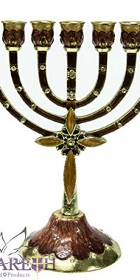 Enameled-Pewter-Jerusalem-Menora-Judaica-Menorah-Made-in-Israel-Holy-Land-63-0