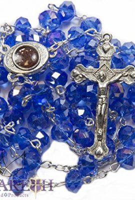Fine-Blue-Crystal-Beads-Rosary-Catholic-Necklace-Holy-Soil-Medal-Crucifix-0