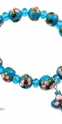 Flowers-Beads-Light-Blue-Bracelet-With-Crystals-Cross-Stretchable-Jerusalem-0