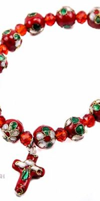 Flowers-Beads-Red-Color-Bracelet-With-Crystals-Cross-Stretchable-Jerusalem-0