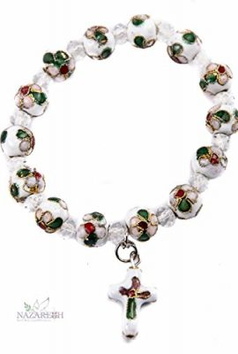 Flowers-Beads-White-Color-Bracelet-With-Crystals-Cross-Stretchable-Jerusalem-0