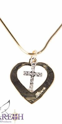 Gold-Plated-14k-Heart-with-Cross-Pendant-Necklace-Love-Amulet-From-Holy-Land-0
