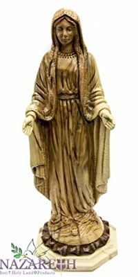Hand-Carved-Olive-Wood-Our-Lady-of-Grace-Virgin-Mary-114-Statue-Sculpture-0