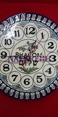 Handmade-Armenian-Ceramic-Hebrew-Shalom-Peace-Wall-Clock-From-Israel-87-0