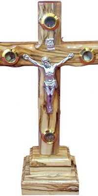 Handmade-Olive-Wood-Standing-Cross-Crucifix-with-4-Lens-From-Holy-Land-91-0