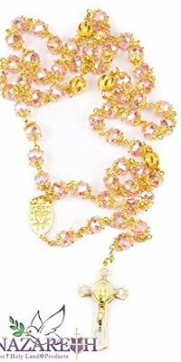 High-Quality-St-Benedict-Gold-Plated-with-Light-Pink-Crystal-Miraculous-Rosary-0
