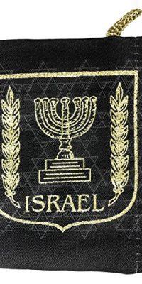 Israel-Menorah-Symbol-Jewish-Black-Pouch-Bag-Banner-Case-From-Jerusalem-57-0