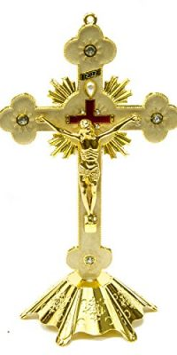 Jesus-INRI-Christian-Cross-Statue-Golden-Standing-Crucifix-With-Zircons-69-0