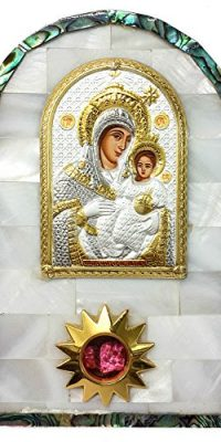 Mother-Of-Pearl-Shell-Icon-VIRGIN-MARY-of-BETHLEHEM-Silver-Russian-Greek--0
