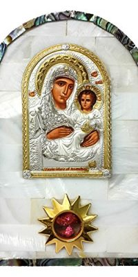 Mother-Of-Pearl-Shell-Icon-VIRGIN-MARY-of-Jerusalem-Silver-Russian-Greek--0