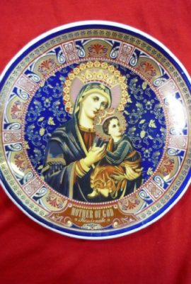 Mother-of-God-Passionate-18k-Gold-Decorative-Wall-Plate-Porcelain-65-Holy-Land-0