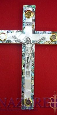 Mother-of-Pearl-Cross-Crucifix-on-Olive-Wood-Base-79-Handmade-From-Holy-Land-0