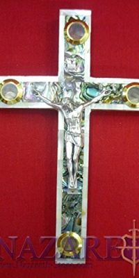 Mother-of-Pearl-Cross-Crucifix-on-Olive-Wood-Base-98-Handmade-From-Holy-Land-0