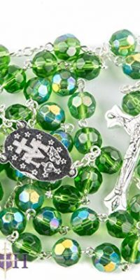 New-Catholic-Rosary-Green-Crystal-Beads-Necklace-Miraculous-Medal-Crucifix-0