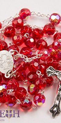 New-Catholic-Rosary-Red-Crystal-Beads-Necklace-Holy-Mary-Crucifix-Jerusalem-0