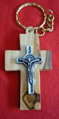 Olive-Wood-Crucifix-Cross-2-with-Metal-Jesus-Christ-Key-Chain-Holy-Land-0