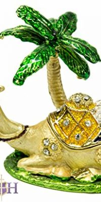 Pewter-Jerusalem-Camel-Palm-Enamel-Trinket-Box-Figurine-with-Zircon-Crystals-0