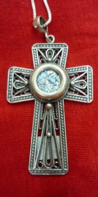 Roman-Glass-Cross-Crucifix-Pendant-16-with-Necklace-Sterling-Silver-925-0