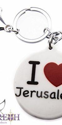 Round-I-Love-Jerusalem-Keychain-Key-Ring-Black-White-Souvenir-with-Clasp-0