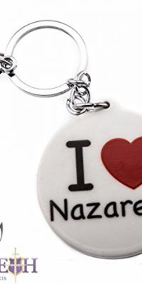 Round-I-Love-Nazareth-Keychain-Key-Ring-Black-White-Souvenir-with-Clasp-22-0