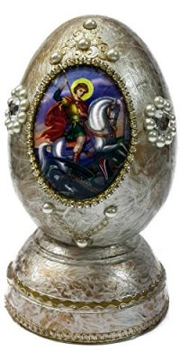 Saint-George-Wooden-White-Lacquer-Egg-Christian-ICON-With-Zircons-JERUSALEM-51-0