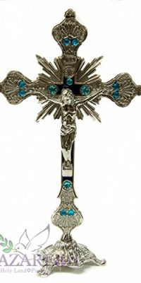Silver-Metal-Catholic-Cross-Statue-With-Light-Blue-Zircon-Crystals-Jerusalem-10-0