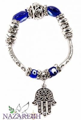 Silver-Plate-Hamsa-Bracelet-with-Blue-Crystals-Glass-Evil-Eye-Protection-Beads-0