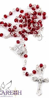 Small-Catholic-Red-Crystals-Beads-Rosary-Carrying-Necklace-with-Metal-Cross-0