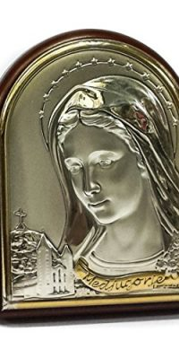 Small-Icon-Virgin-Mary-Italy-Sterling-Silver-with-Gold-Jerusalem-Holy-Land-22-0