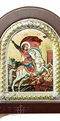 St-George-Slaying-Dragon-Christian-Icon-52-Silver-950-Handmade-Holy-Land-0