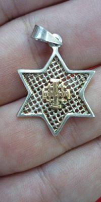 Star-of-David-Silver-925-Pendant-with-9k-Gold-Jerusalem-Cross-Handmade-Israel-0-0
