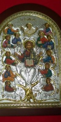 Tree-of-Life-Silver-925-Icon-Orthodox-with-Wood-Frame-From-Jerusalem-Big-0